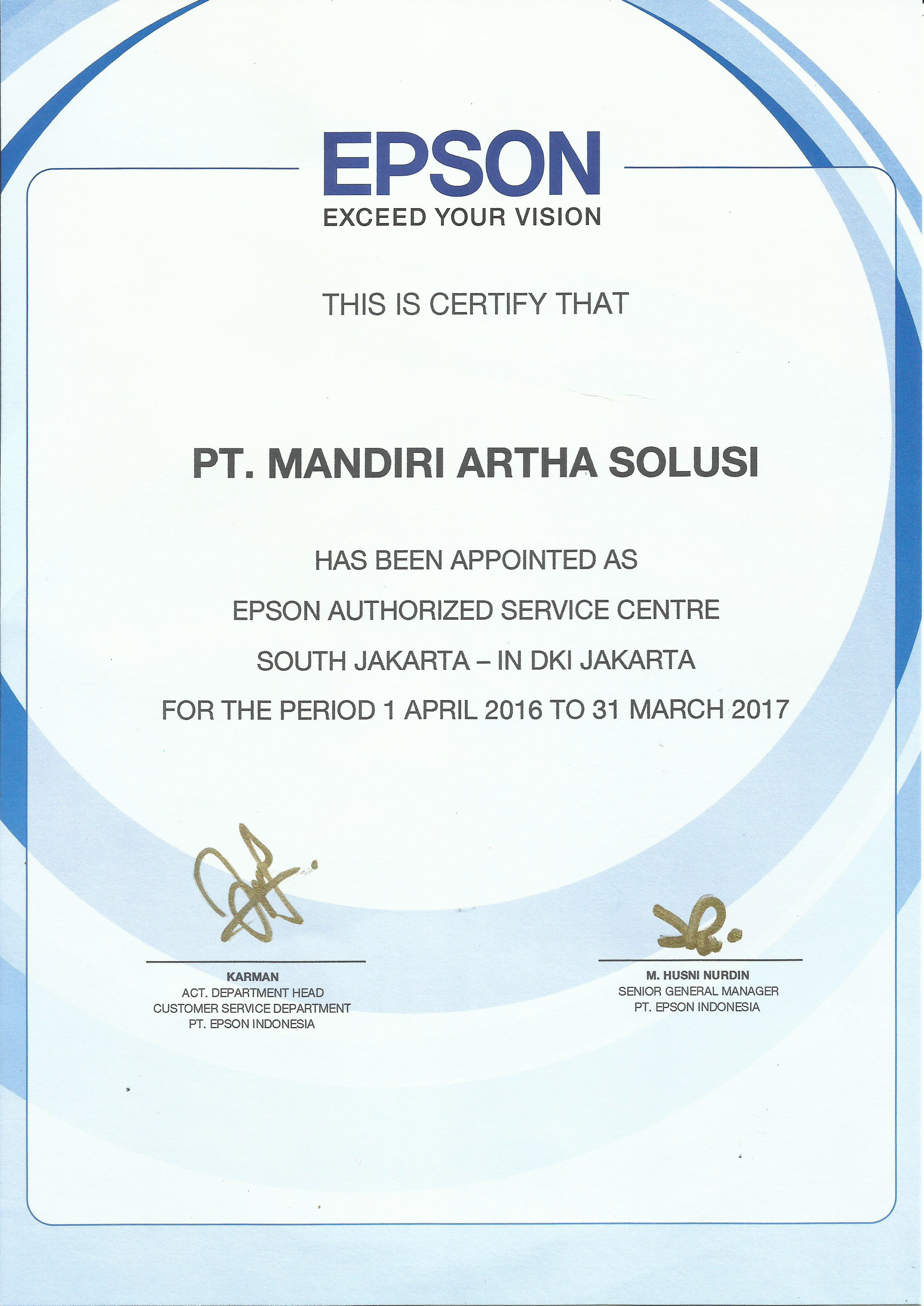 epson authorized service centre certificate